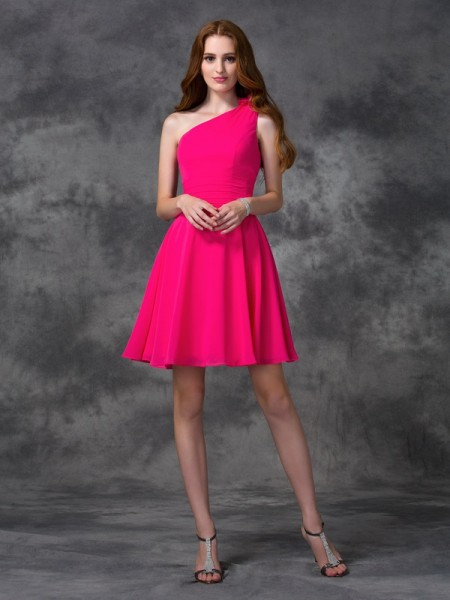 A-Line/Princess Fuchsia Chiffon Short/Mini Homecoming Dresses with Hand-Made Flower