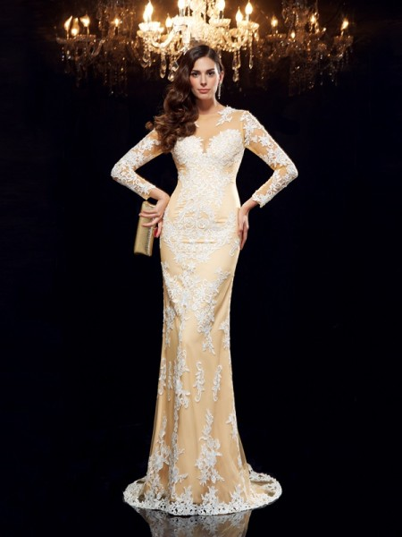 Sheath/Column Champagne Net Sweep/Brush Train Evening Dresses with Applique