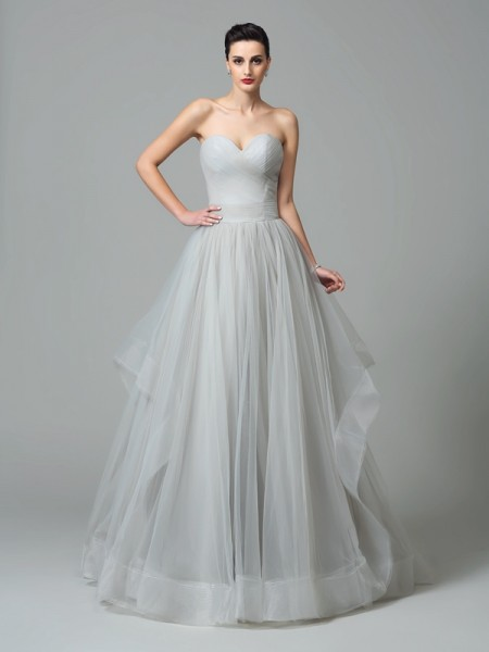 A-Line/Princess Grey Net Sweep/Brush Train Evening Dresses with Layers