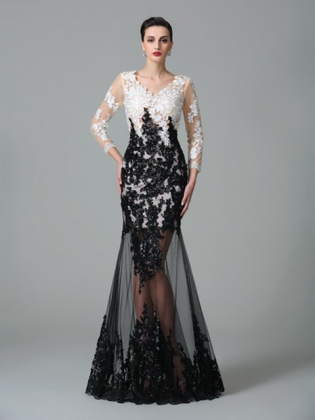 Sheath/Column Black Net Floor-Length Evening Dresses with Lace