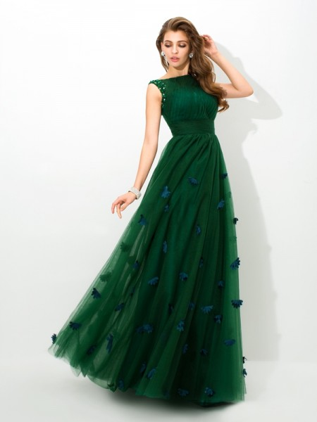 A-Line/Princess Green Net Floor-Length Evening Dresses with Beading