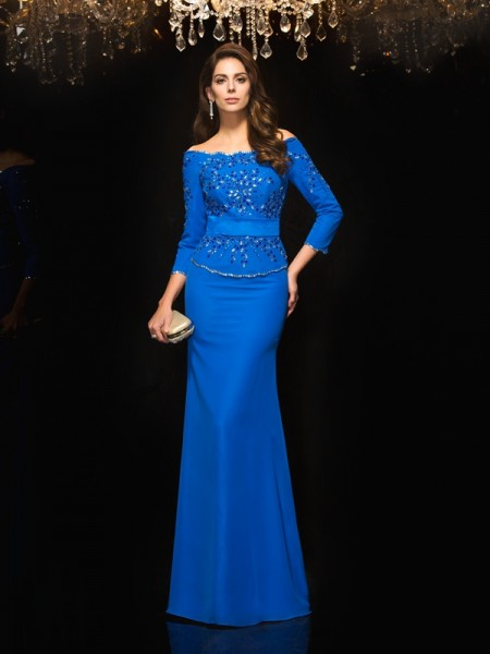 Sheath/Column Royal Blue Chiffon Floor-Length Evening Dresses with Beading
