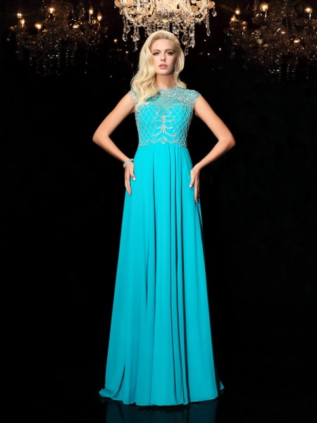A-Line/Princess Other Chiffon Floor-Length Evening Dresses with Lace