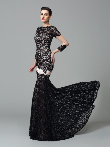 Sheath/Column Black Elastic Woven Satin Sweep/Brush Train Evening Dresses with Lace