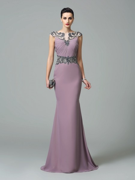 Trumpet/Mermaid Lilac Chiffon Sweep/Brush Train Evening Dresses with Beading
