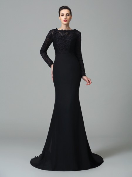 Trumpet/Mermaid Black Chiffon Court Train Evening Dresses with Lace