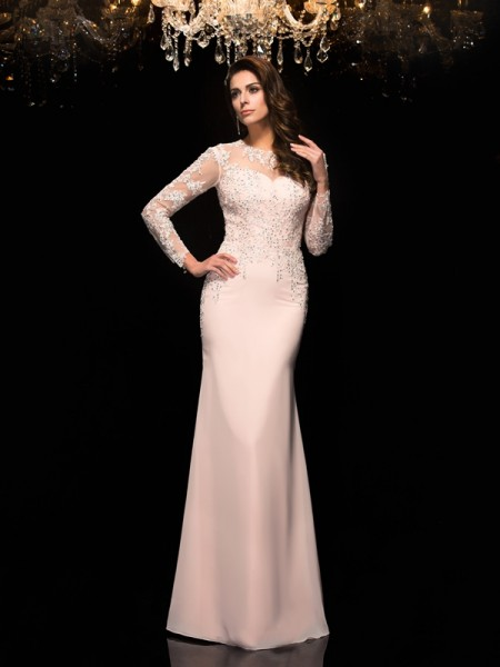 Sheath/Column Pink Chiffon Floor-Length Evening Dresses with Applique
