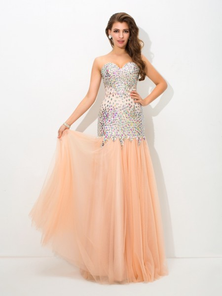 Trumpet/Mermaid Champagne Net Floor-Length Evening Dresses with Beading