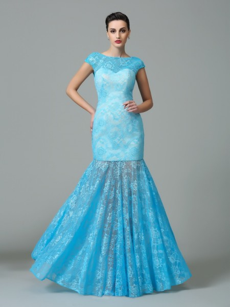 Sheath/Column Light Sky Blue Lace Floor-Length Evening Dresses with Other
