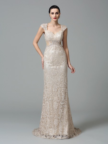 Sheath/Column Champagne Lace Sweep/Brush Train Evening Dresses with Other