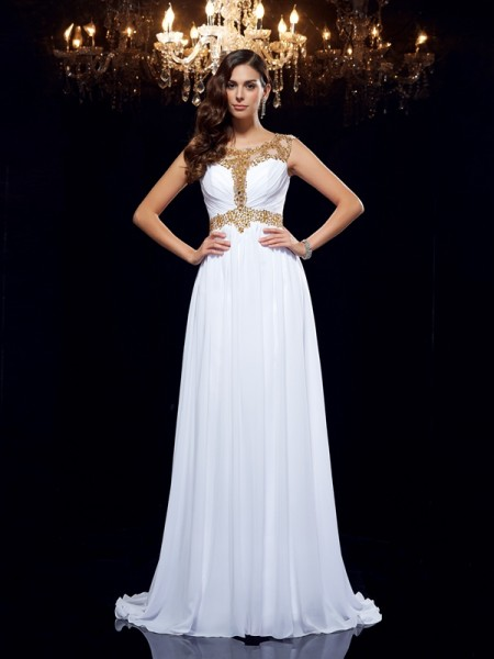 A-Line/Princess White Chiffon Sweep/Brush Train Evening Dresses with Beading