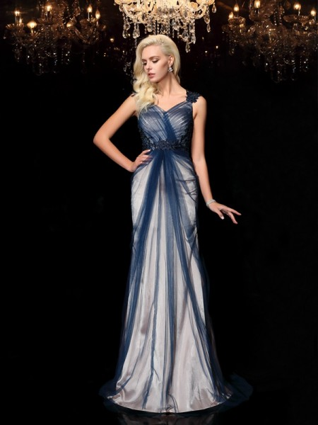 Sheath/Column Dark Navy Elastic Woven Satin Sweep/Brush Train Evening Dresses with Applique