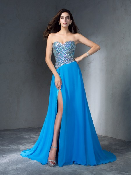 A-Line/Princess Blue Chiffon Sweep/Brush Train Dresses with Sequin