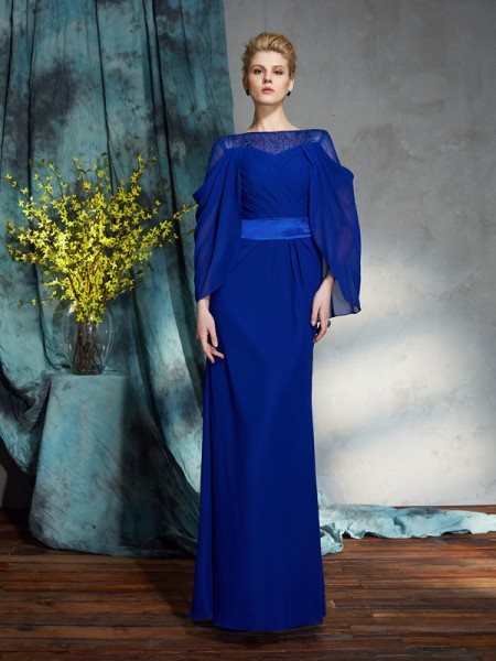 Sheath/Column Royal Blue Chiffon Floor-Length Evening Dresses with Other