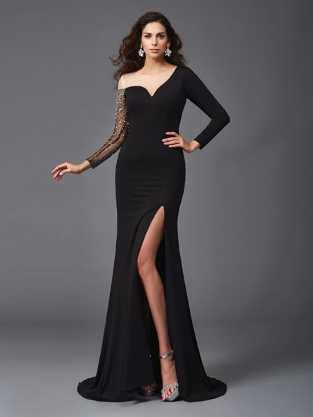 Sheath/Column Black Spandex Sweep/Brush Train Evening Dresses with Beading