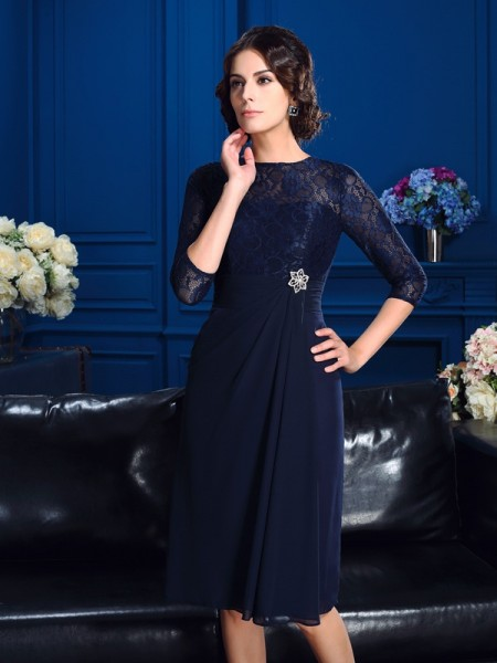 A-Line/Princess Dark Navy Chiffon Knee-Length Mother Of The Bride Dresses with Lace