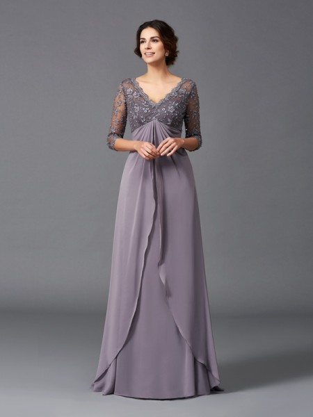 A-Line/Princess Lilac Chiffon Floor-Length Mother Of The Bride Dresses with Lace