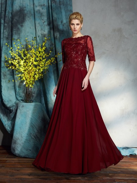A-Line/Princess Red Chiffon Floor-Length Mother Of The Bride Dresses with Applique