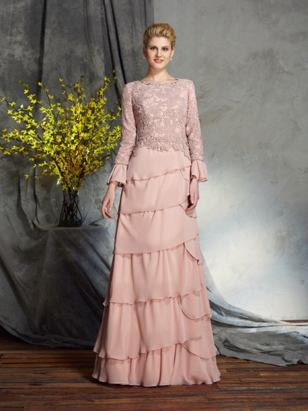 Sheath/Column Pearl Pink Chiffon Floor-Length Mother Of The Bride Dresses with Ruffles
