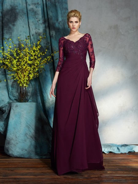 A-Line/Princess Burgundy Chiffon Floor-Length Mother Of The Bride Dresses with Beading