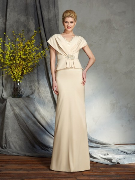 Sheath/Column Other Silk like Satin Floor-Length Mother Of The Bride Dresses with Beading