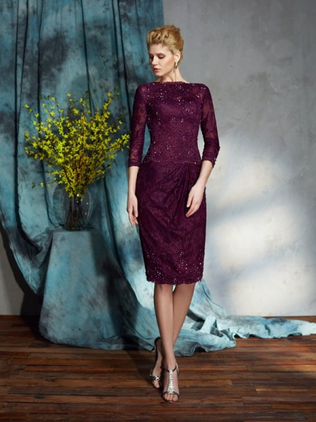 Sheath/Column Burgundy Lace Knee-Length Mother Of The Bride Dresses with Lace