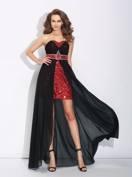 A-Line/Princess Black Chiffon Asymmetrical Dresses with Sequin
