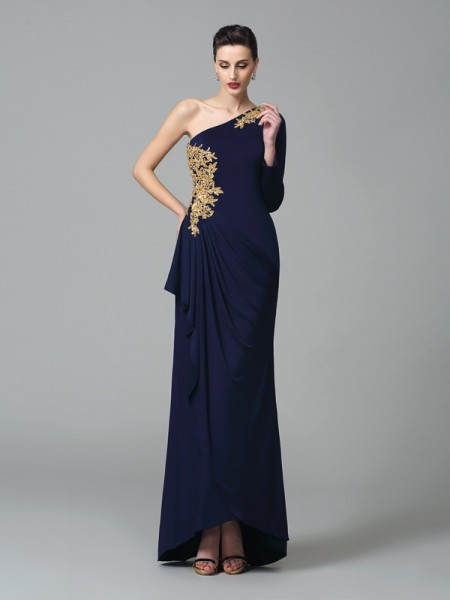 Sheath/Column Dark Navy Spandex Floor-Length Dresses with Embroidery