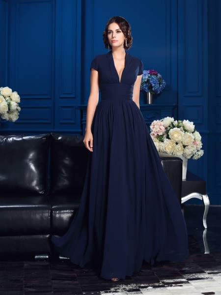 A-Line/Princess Dark Navy Chiffon Floor-Length Mother Of The Bride Dresses with Applique