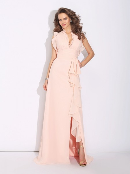 A-Line/Princess Pearl Pink Chiffon Sweep/Brush Train Dresses with Ruffles