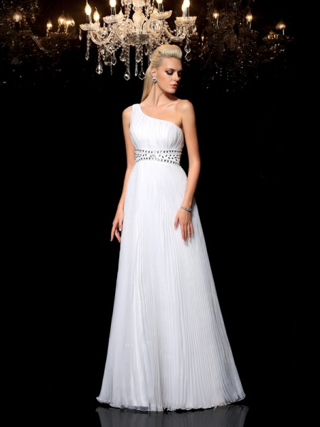 A-Line/Princess White Organza Floor-Length Dresses with Beading