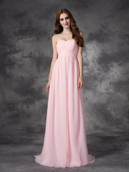 A-Line/Princess Pink Chiffon Sweep/Brush Train Dresses with Ruched