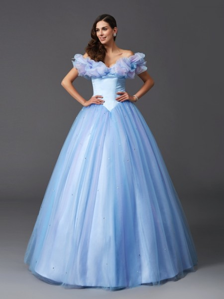 Ball Gown Sage Net Floor-Length Dresses with Beading