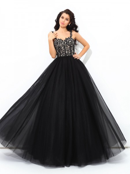 Ball Gown Black Net Floor-Length Dresses with Applique