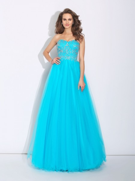A-Line/Princess Blue Satin Floor-Length Dresses with Rhinestone