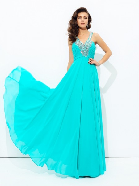 A-Line/Princess Blue Chiffon Floor-Length Dresses with Paillette