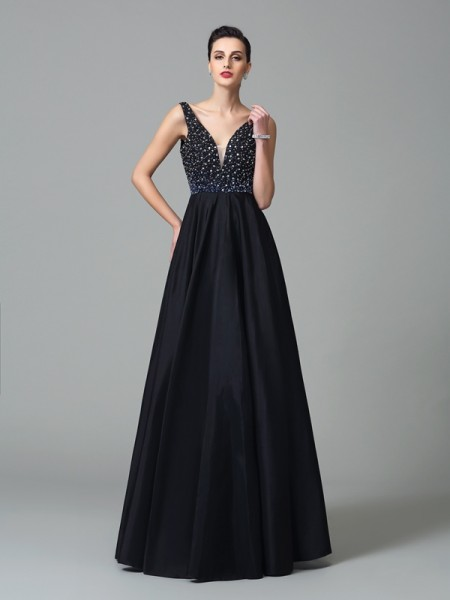 A-Line/Princess Black Taffeta Floor-Length Dresses with Beading