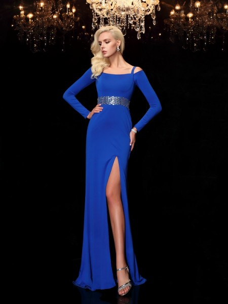 Sheath/Column Royal Blue Spandex Sweep/Brush Train Dresses with Beading