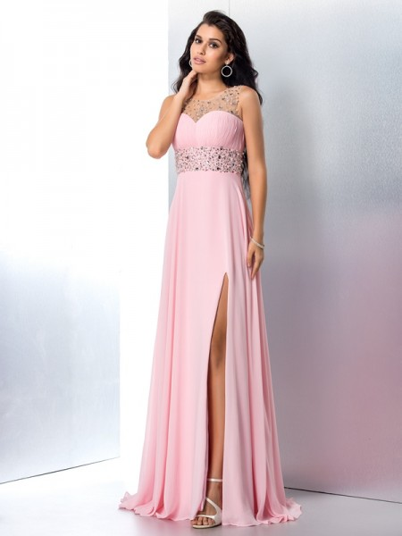 A-Line/Princess Pink Chiffon Sweep/Brush Train Dresses with Beading