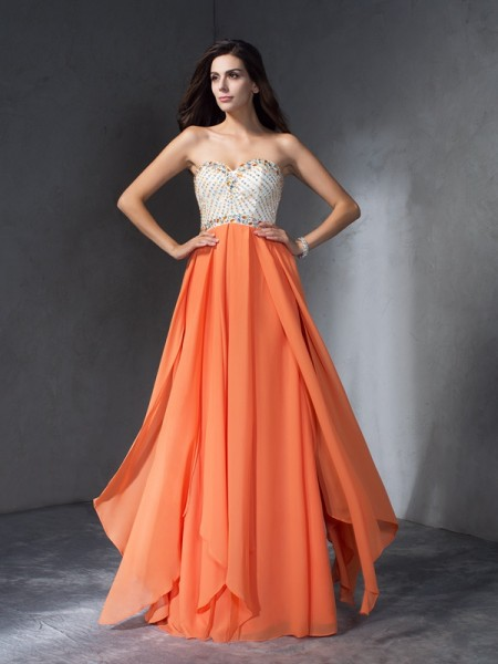 A-Line/Princess Other Chiffon Floor-Length Dresses with Beading
