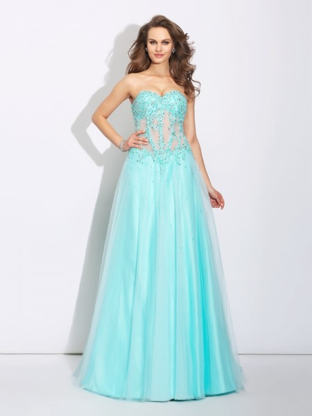 A-Line/Princess Light Sky Blue Net Sweep/Brush Train Dresses with Lace