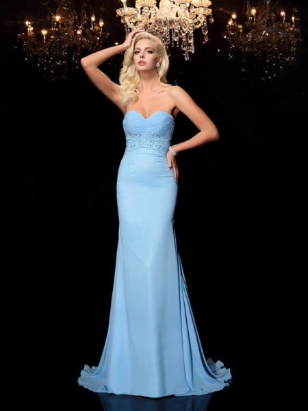 Trumpet/Mermaid Light Sky Blue Chiffon Sweep/Brush Train Dresses with Rhinestone