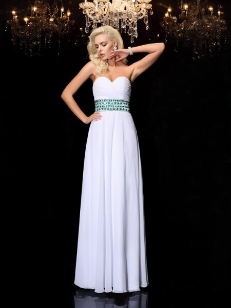 A-Line/Princess White Chiffon Floor-Length Dresses with Rhinestone