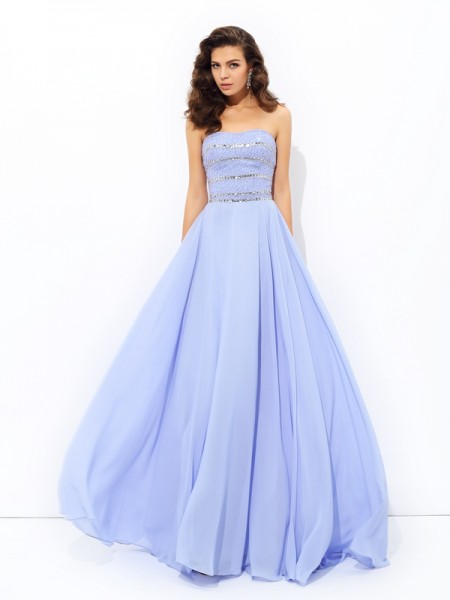 A-Line/Princess Lavender Chiffon Sweep/Brush Train Dresses with Beading