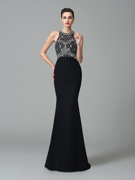 Trumpet/Mermaid Black Chiffon Sweep/Brush Train Dresses with Rhinestone