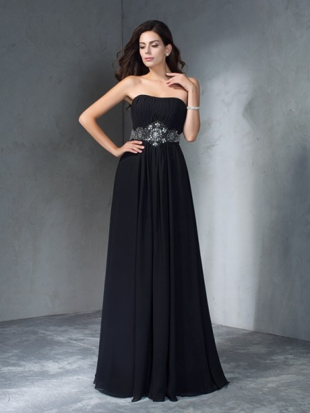 A-Line/Princess Black Chiffon Floor-Length Dresses with Beading