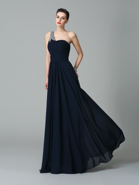 A-Line/Princess Dark Navy Chiffon Floor-Length Dresses with Rhinestone