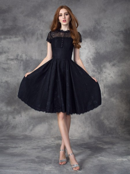 A-Line/Princess Black Lace Knee-Length Dresses with Lace