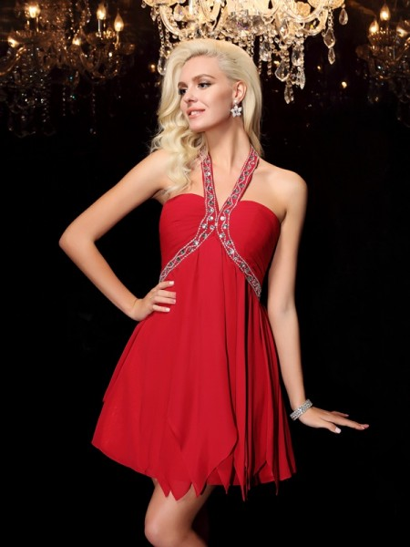 A-Line/Princess Red Chiffon Floor-Length Dresses with Beading