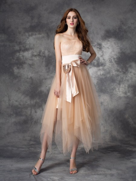 A-Line/Princess Champagne Elastic Woven Satin Ankle-Length Dresses with Bowknot